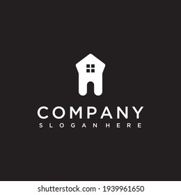 dental house silhouette logo design