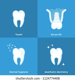 Dental Hygiene, Aesthetic Dentistry, Tooth, Prosthesis, Sinus Lift, . Flat Line Art Drawings. Dental Clinic Icons. Web Pictogram for Dentistry. Stomatology Concept, Logo or Illustration