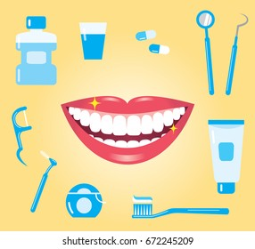 dental hygiene concept. smiling mouth with clean teeth and dental care products/dental care
