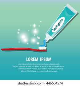 Dental hygiene concept with tooth toothbrush toothpaste and writing. blue Tube of Toothpaste. protect your teeth vector illustration.