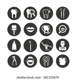 dental icon set in circle buttons