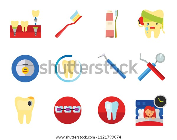 Dental Icon Set. Toothache Tooth Implant Dental Floss Interdental Brush Caries Braces Dental Care Insomnia Healthy Tooth Stomatology Tooth Brush Toothpaste