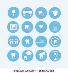 Dental  Icon Set, Vector, Simple Thin Line Icons Collection