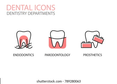 Dental icons. Endodontics, parodontology, prosthetics isolated on white. Dentistry departments illustrations. Tooth logotype. Teeth care.