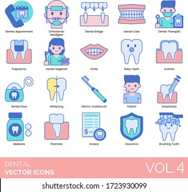 Dental icons including dentist appointment, orthodontic headgear, bridge, cast, therapist, pulpotomy, hygienist, smile, baby teeth, enamel, floss, whitening, electric toothbrush, patient, anesthesia.