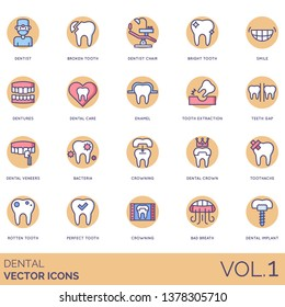 Dental icons including dentist, broken tooth, chair, bright, smile, dentures, care, enamel, extraction, gap, veneers, bacteria, crowning, toothache, rotten, perfect, bad breath, implant.