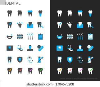 Dental icons light and dark theme. 48x48 Pixel perfect.