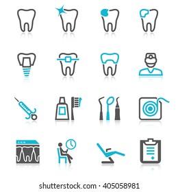 Dental icons set (2 colors)