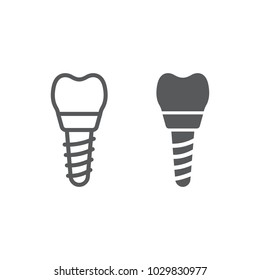Dental implant line and glyph icon, stomatology and dental, implantation sign vector graphics, a linear pattern on a white background, eps 10.