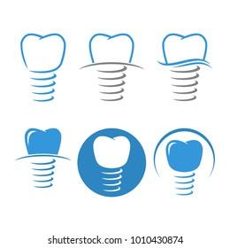 Dental Implant Logo Design Vector Set
