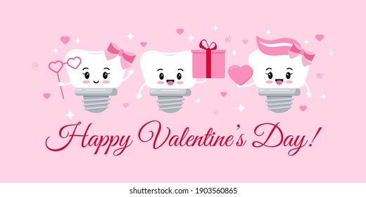 Dental implant tooth on orthodontist Valentines Day greeting card with hearts and sparkles. Happy Valentines Day teeth for dentist gift. Flat design cartoon funny dental character vector illustration.