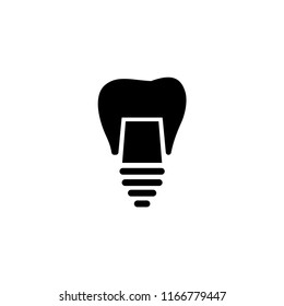 Dental Implant, Tooth Restoration. Flat Vector Icon illustration. Simple black symbol on white background. Dental Implant, Tooth Restoration sign design template for web and mobile UI element