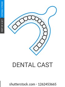 Dental impressions icon. Outline style image of odontic cast.