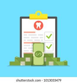 Dental insurance, dental care concept. Medical clipboard. Vector illustration.