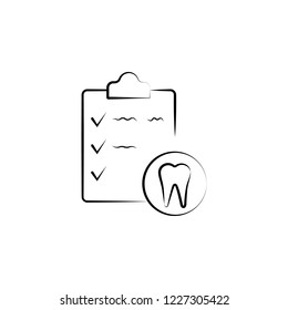 dental, invoice, stomatology icon. Element of dantist for mobile concept and web apps illustration. Hand drawn icon for website design and development, app development