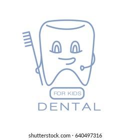 Dental for kids logo symbol vector Illustration