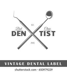 Dental label isolated on white background. Design element. Template for logo, signage, branding design. Vector illustration