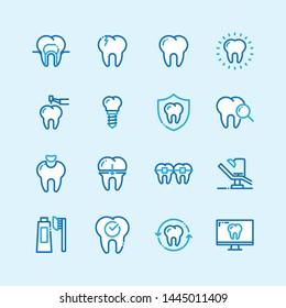 Dental line blue color icons flat line style