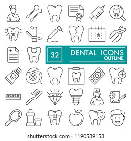 Dental line icon set, dentistry symbols collection, vector sketches, logo illustrations, medicine signs linear pictograms package isolated on white background, eps 10