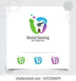 Dental logo dentist vector design with concept of toothbrush and tooth icon . Dental care for hospital, doctor, clinic, and health.
