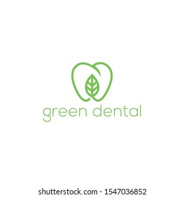 dental logo ,green dental vector,leaf and dental
