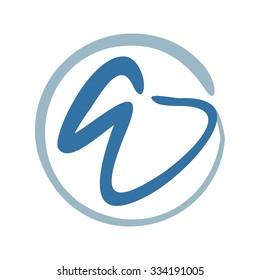 dental logo. letter e or w logo.