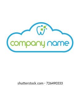 Dental logo software in the cloud modern design,