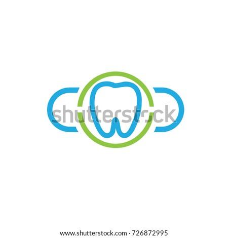 Dental Logo Software Cloud Modern Design Stock Vector