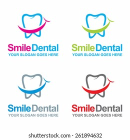 Dental logos collection in various color. Vector illustration. beautiful typography composition and place for tagline