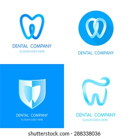 Dental logos templates. Abstract vector teeth signs. A set of dental logos icon design template elements. Abstract stomatology vector signs.