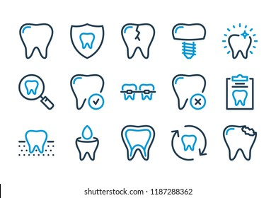 Dental medicine related line icon set. Dentistry, odontology and stomatology icons. Vector sign illustration.