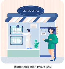 Dental office building doctor talking to patient. Medical stomatology clinic entrance with signboard