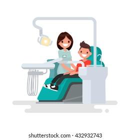 Dental office. Children's dentist and patient. Vector illustration of a flat design
