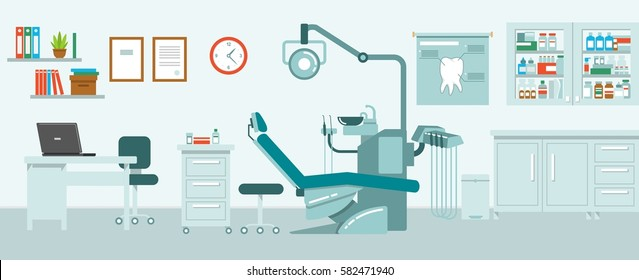 Dental office concept in flat style. Hospital interior with dentist workplace - chair, equipment, instruments
