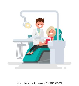 Dental office. Dentist and  patient. Vector illustration of a flat design
