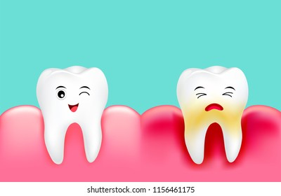 Dental plaque with inflammation and healthy tooth. Cute cartoon design, illustration isolated on green background. Dental care concept.