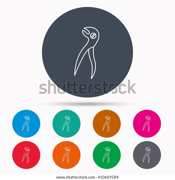 Dental pliers icon. Stomatological forceps tool sign. Icons in colour circle buttons. Vector