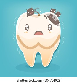 Dental problem - Sad yellow decayed teeth fear with bacteria vector cartoon