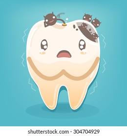 Dental problem - Sad yellow decayed teeth fear with bacteria vector cartoon