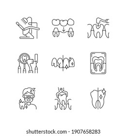 Dental procedures linear icons set. Dental care. Sleeping dentistry. Orthodontics practice. Customizable thin line contour symbols. Isolated vector outline illustrations. Editable stroke