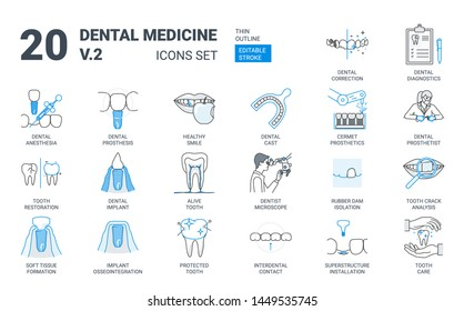Dental Prosthesis Icon Set in Flat Outline Style. Contains Such Dentistry Symbols as Implant, Microscope, Prosthesis, Prosthetics, Cast, Impressions, Rubber Dam, Tooth, Smile. Vector Linear Icons Set.