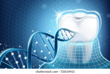 Dental related design element, tooth protected by invisible coat and dna structure in 3d illustration
