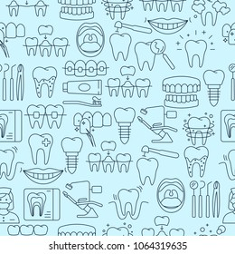 Dental seamless pattern with outline icons of clinic services dentistry orthodontics oral health care hygiene dental instruments equipment. Flat style vector illustration. Isolated on blue background