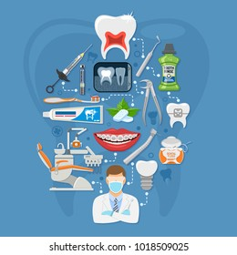 Dental Services Infographics with Oral Hygiene and Dental Clinic. Icons in Flat Style Doctor, Dentist Chair, Tooth and Braces. Vector illustration