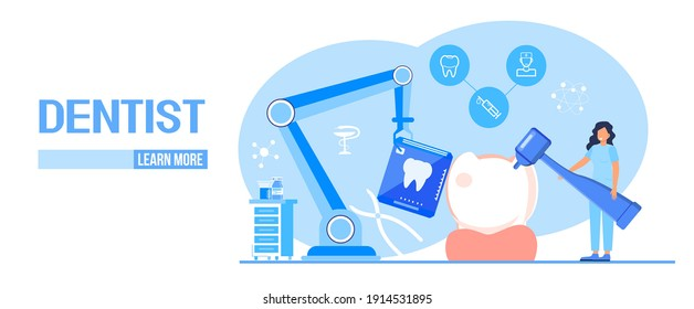 Dental services vector concept for landing page. Dentists make x-ray scan of teeth to help toothache, to whiten enamel or recovery implant. Professionals of odontology work, treat illness tooth.