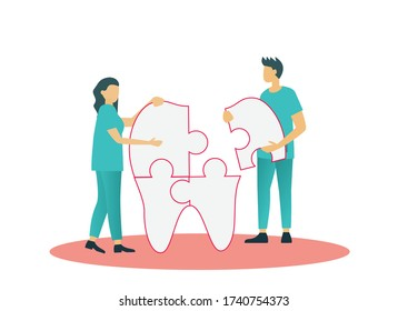 Dental specialist doctor work together to fix connecting jigsaw piece teeth vector illustration for world dental health day poster concept background. Tiny people modern style design.