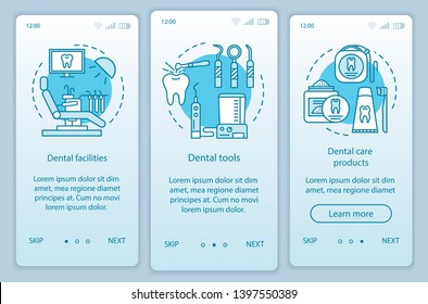 Dental stuff onboarding mobile app page screen with linear concepts. Dental facilities, tools, care products walkthrough steps graphic instructions. UX, UI, GUI vector template with illustrations