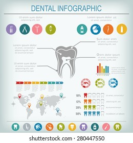 Dental and teeth care infographics. Tooth treatment, prevention and prosthetics. Set of flat vector dental icons.