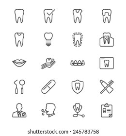 Dental thin icons