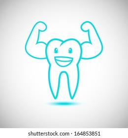 Dental Tooth Mascot Cartoon Character